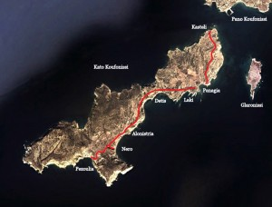 Trekking Map on Kato Koufonissi;